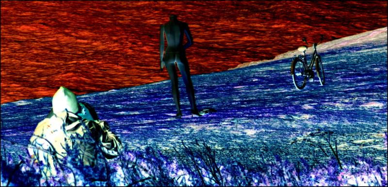 Image en négatif d'un mannequin près de la mer