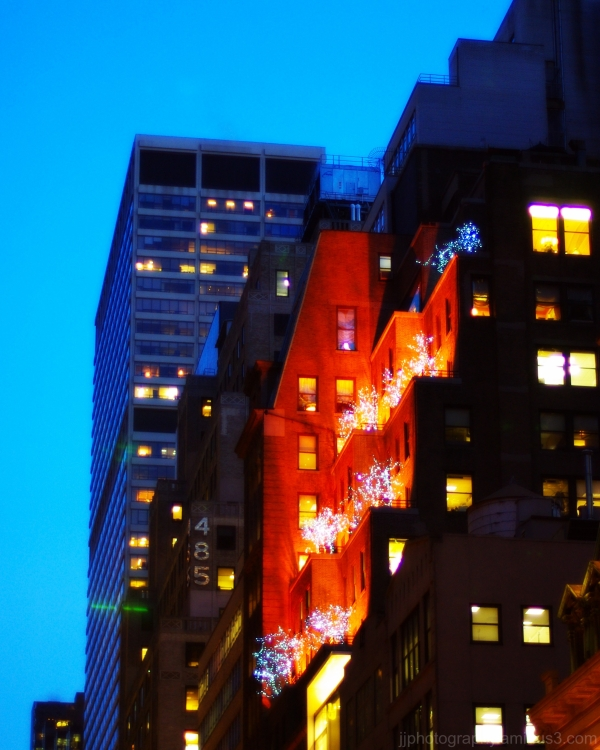 A city building aglow