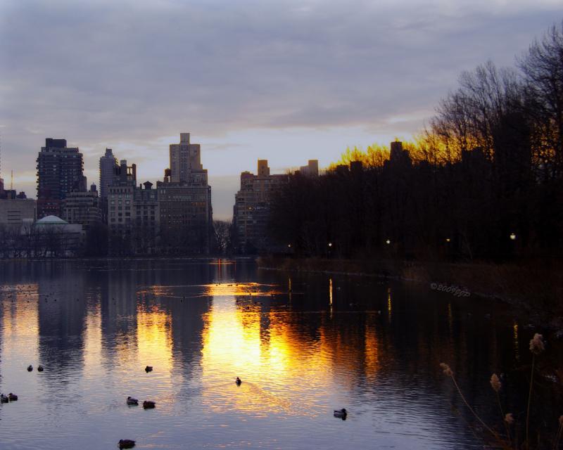 sun rise over the reservoir