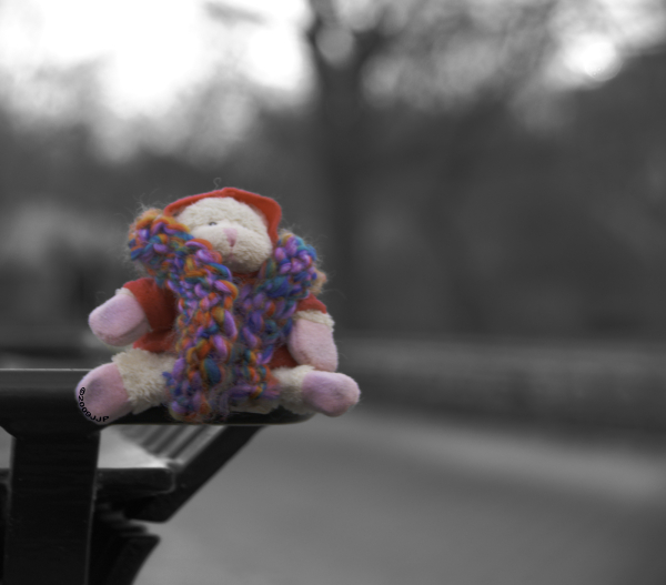 A toy sheep with a beanie and scarf