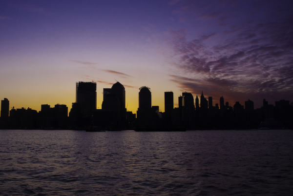 Sunrise across the hudson river over manhattan