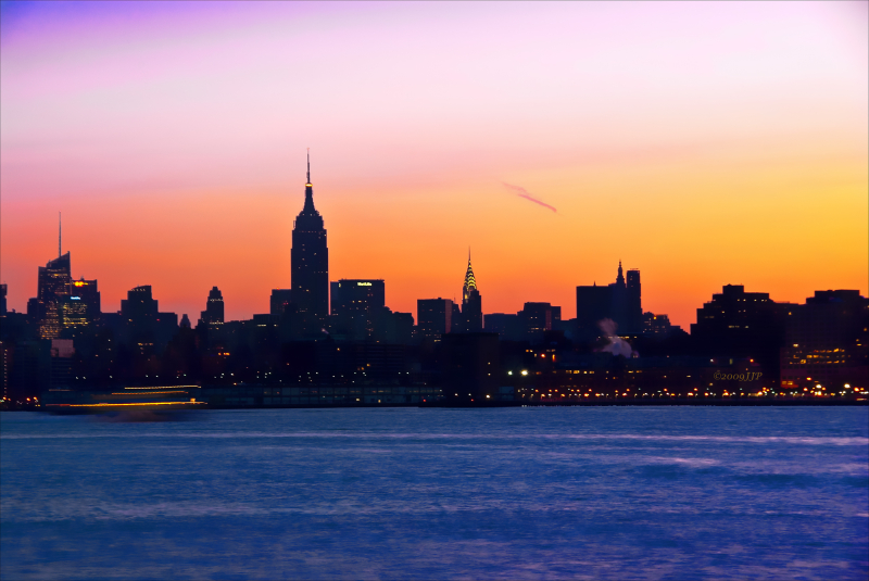 A colorful sunrise over the big apple