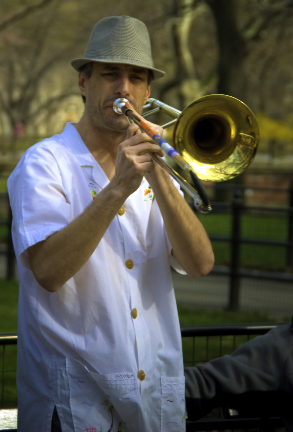 A trumpeter in Central park
