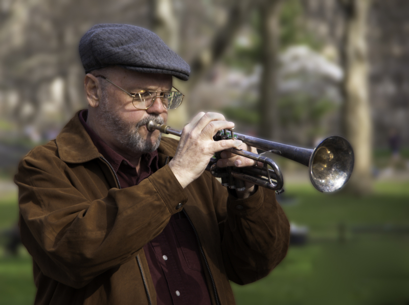 Trumpeter in central park