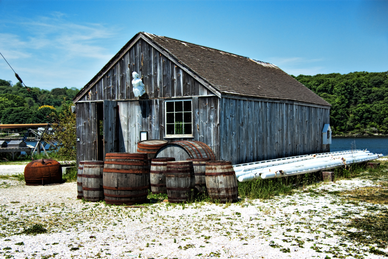 An Old shed and barrels