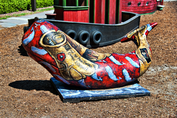 A painted Whale in a Kids Plyground