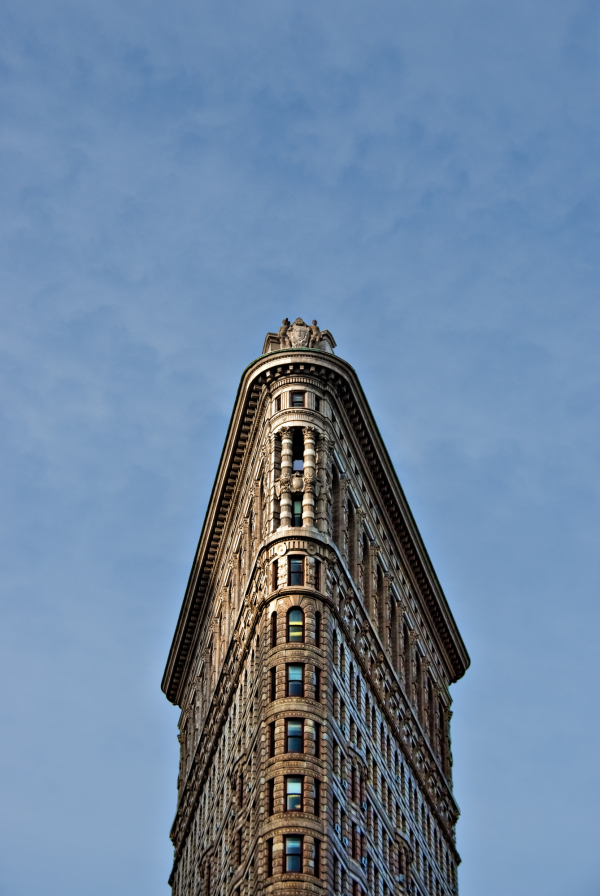 The top of the flat Iron Building