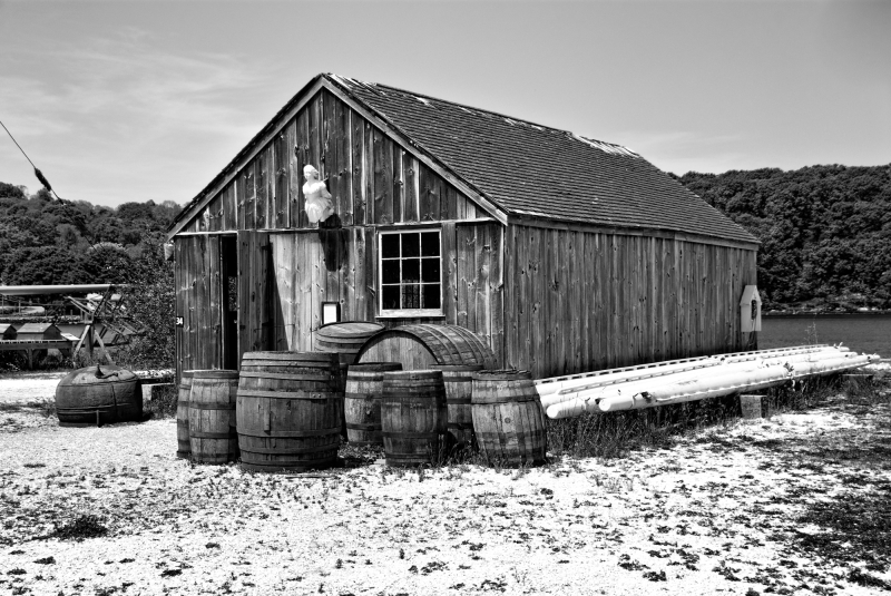 An old boat shed in B&W