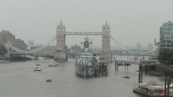 War ship on river thames near tower bridge
