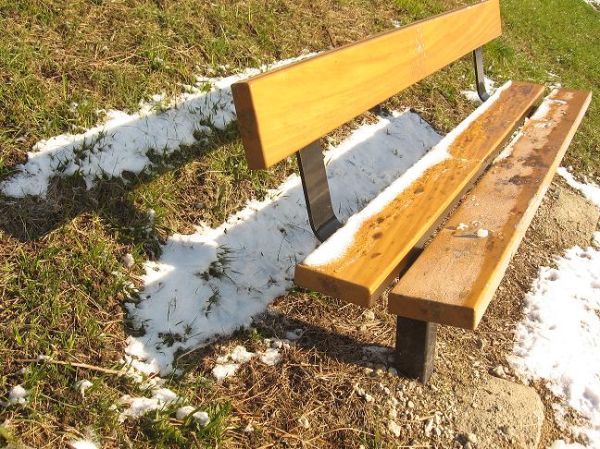 banc neige hiver canal Briare