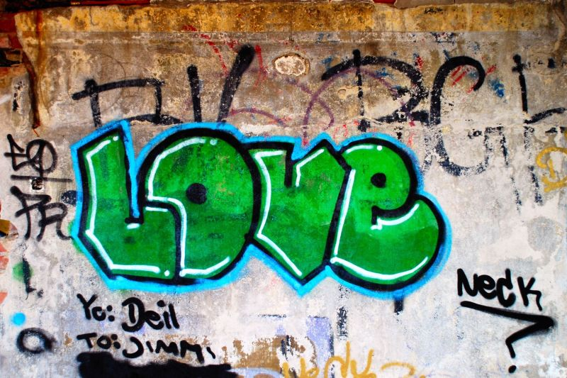 Graffiti on abandoned house
