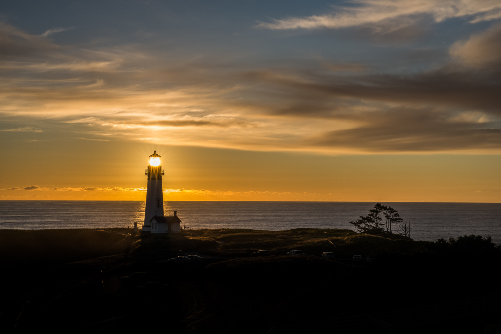 Yaquina Head Lighthouse with sun