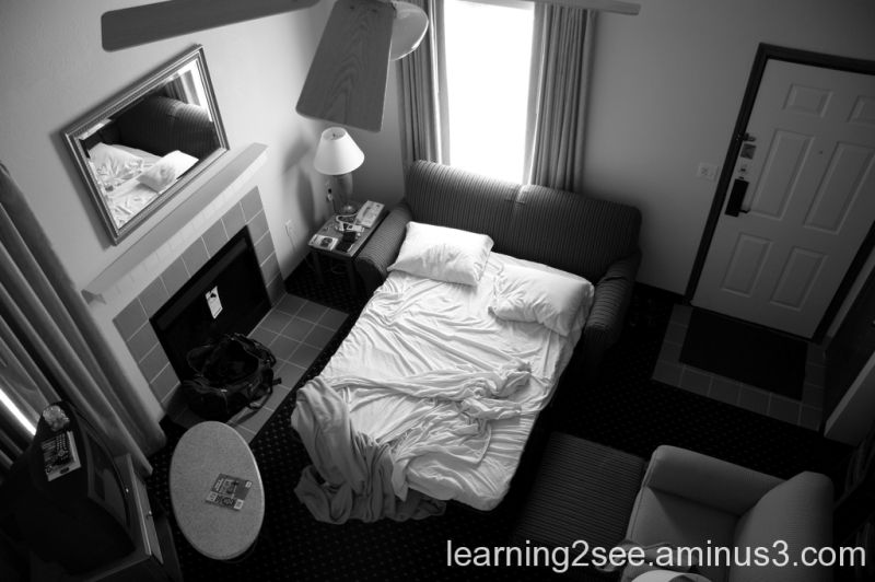 Hotel room in black and white