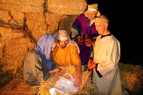 Nativity Scene, shepherd and wise man visiting