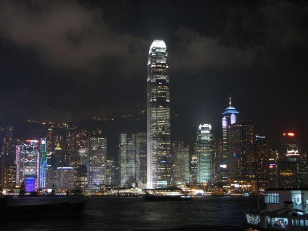 the lights of Hong Kong Island