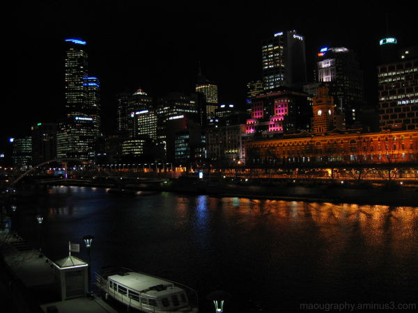 Melbourne, Yarra River, Night Scene, River Bank