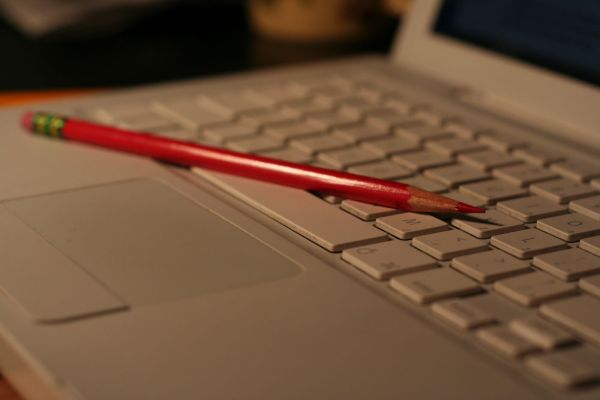 Red Pencil and Macbook