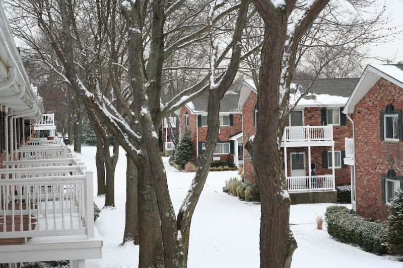 Snowy Apartment Complex