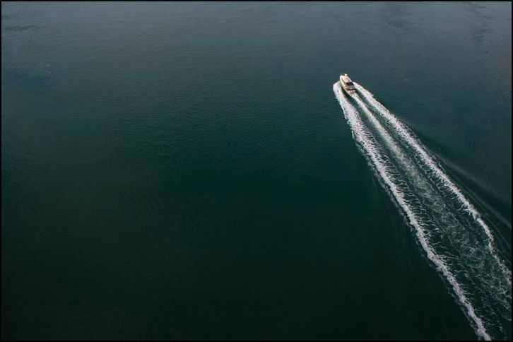 Boat passing through Deception Pass, Washington.
