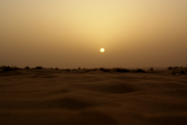 the desert sun at dusk