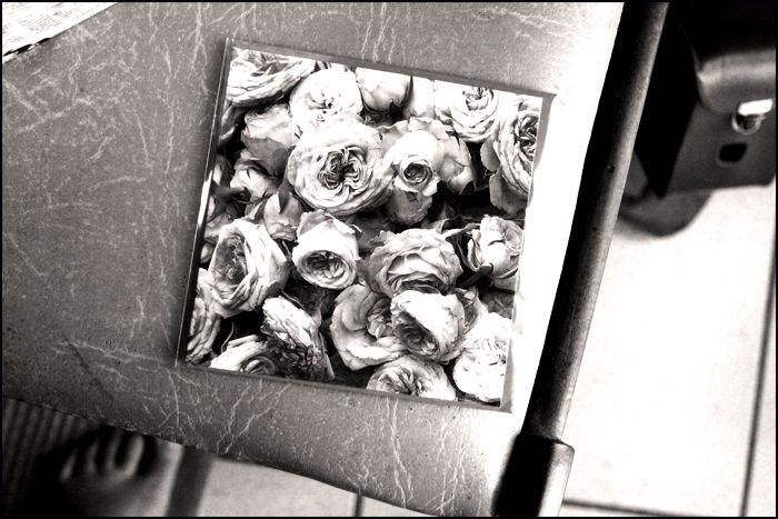 Carte de roses posée sur la chaise...