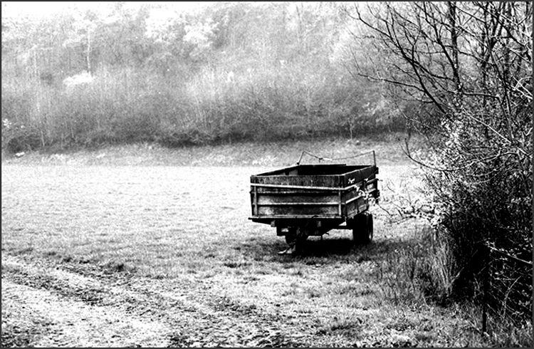 Remorque dans le champ au mois d'avril...