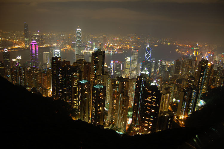 Hong Kong at night taken from the Peak