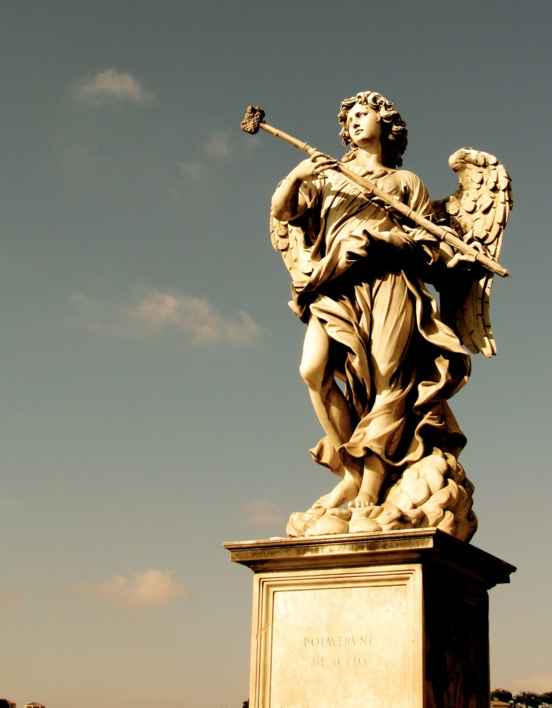 an angel statue in Rome
