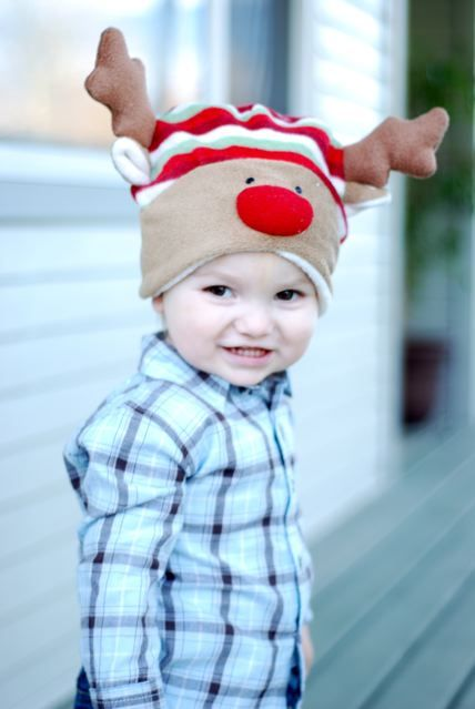 My toddler in his rudolf hat