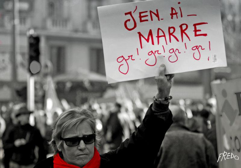 manifestante durant la manif du 29 janvier 2009
