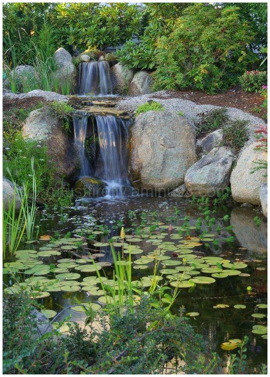 Relaxing man-made waterfall