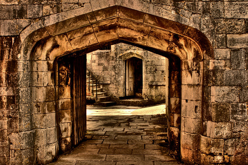 archway stone courtyard