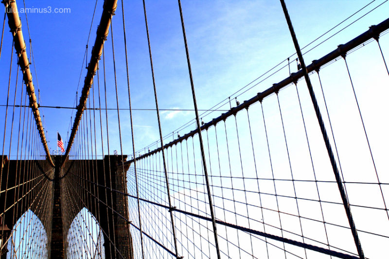 A Blue Walk Across the Brooklyn Bridge