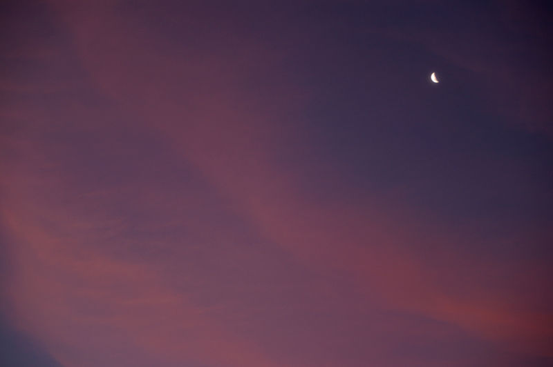 sunset with moon
