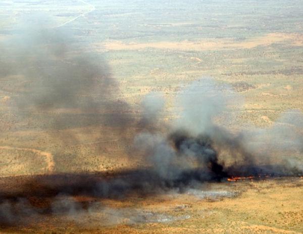 Controlled desert burn near Uluru