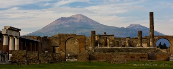 The ruins of Pompeii in the shadow of Mt. Vesuvius
