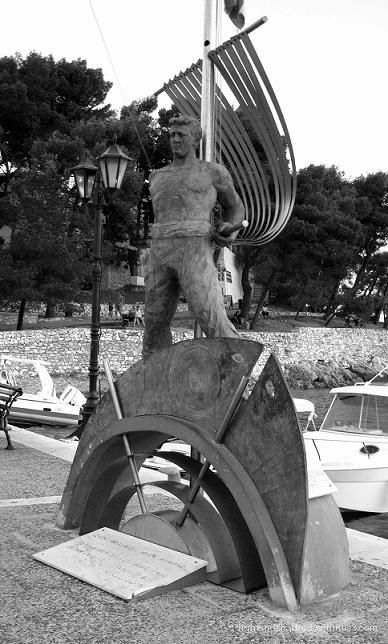 monument of lost sailor at Skiathos island greece