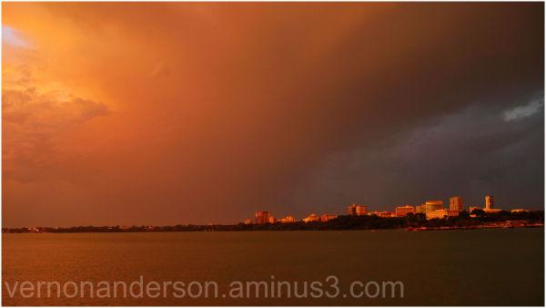 darwin sunset storm sea harbour