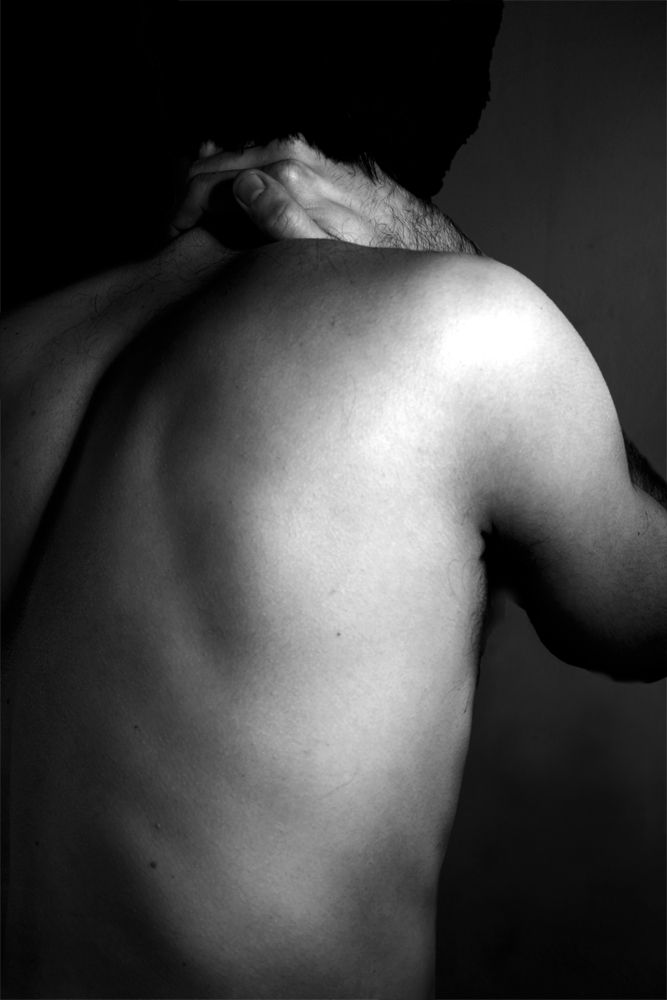 male, black & white, semi nude