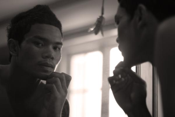 black white male thai portrait