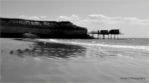 Reflections on the wet sand