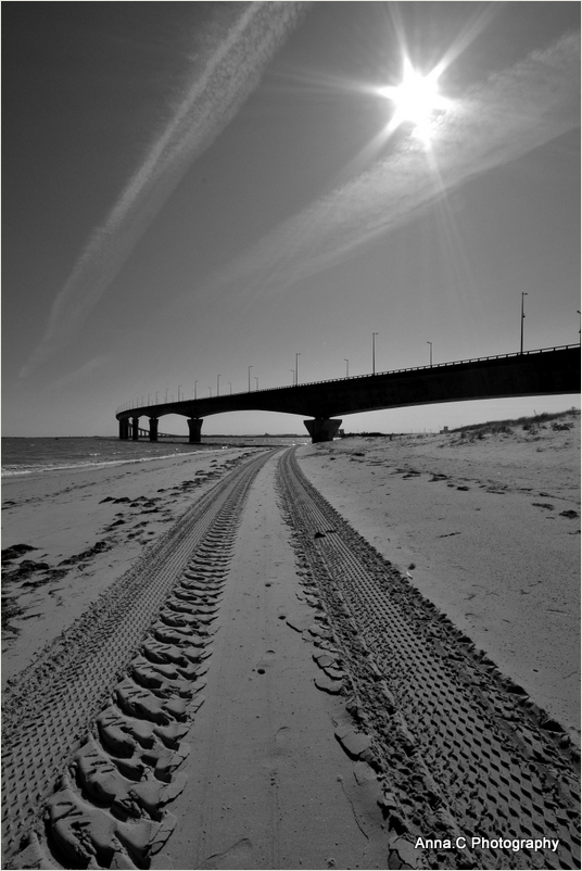 Tracks toward the bridge