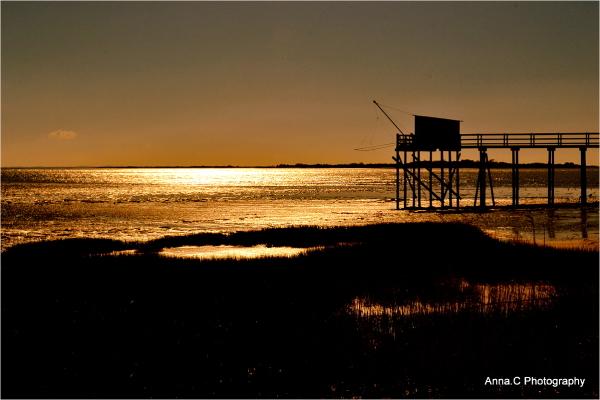 Carrelet at sunset