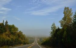 Algonquin road under the mist