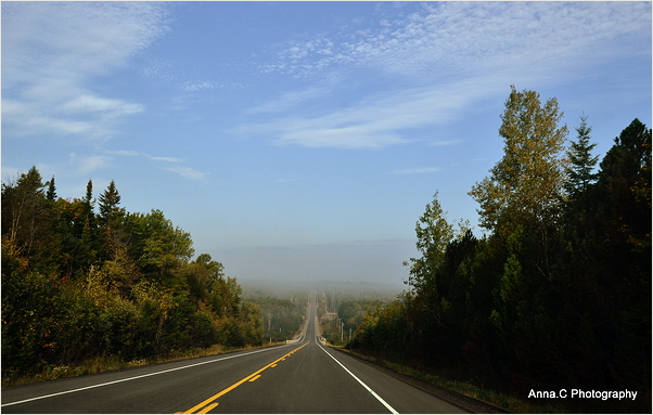 Algonquin road under the mist