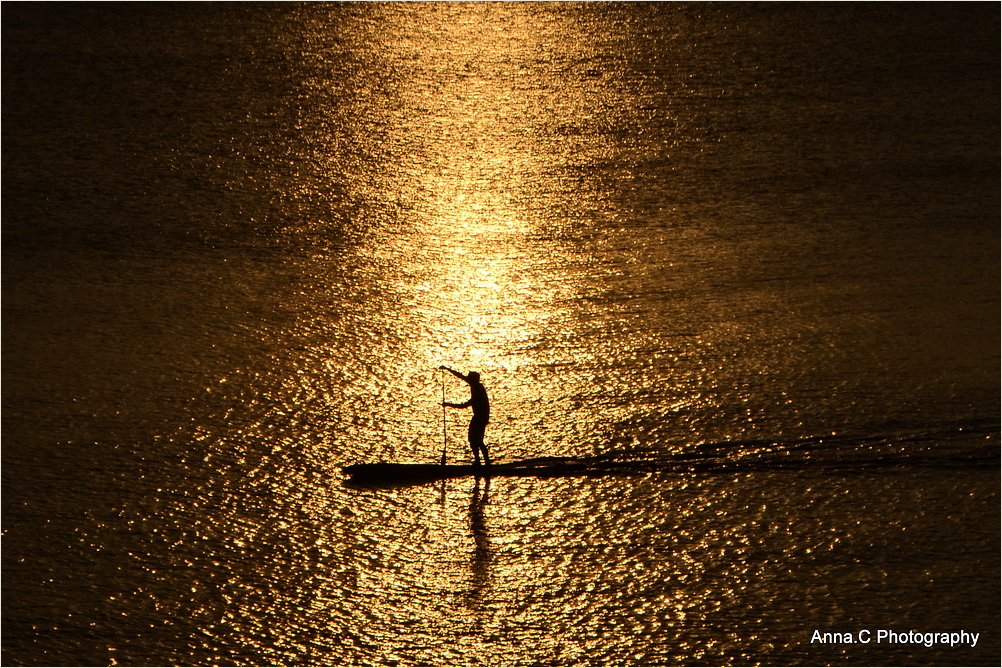 Paddle in golden light