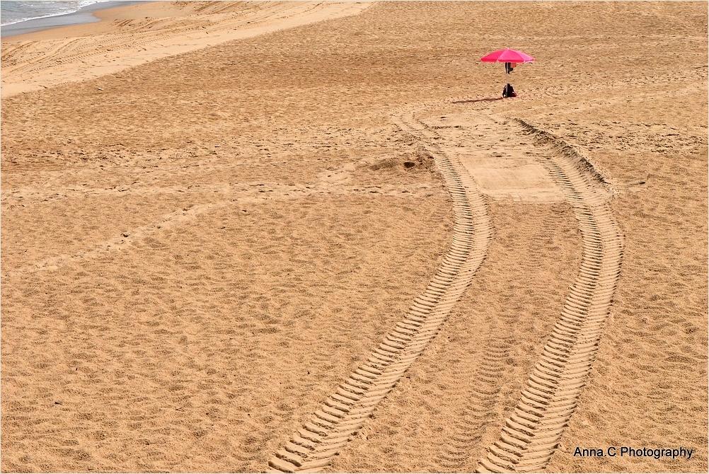 Le chemin vers le parasol rose