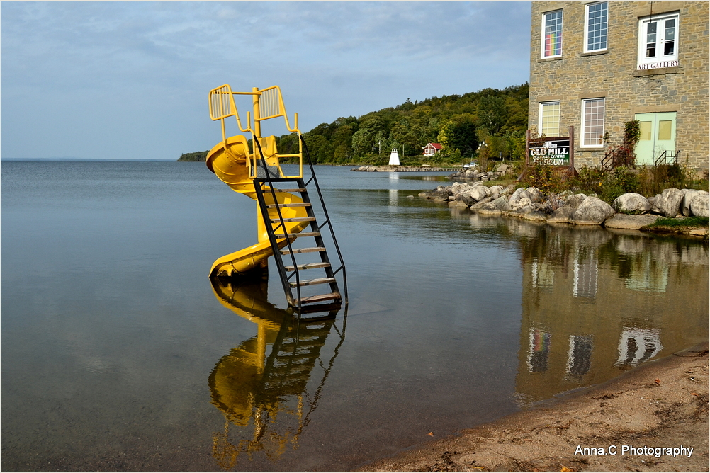 The diving board and twisty slide