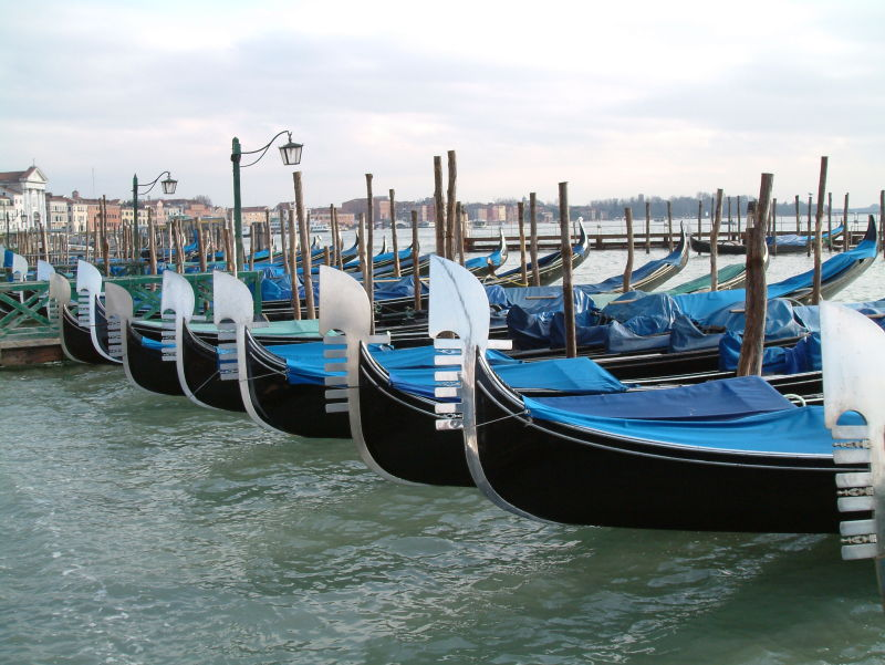 Gondalas on a cold Venetian day