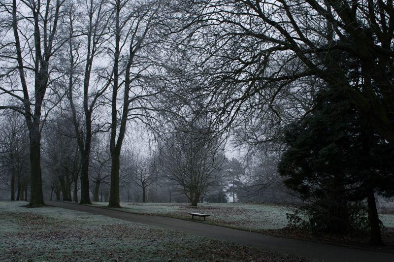 Park bench, birmingham, winter,